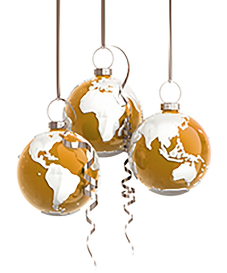Chirstmas balls with a world map, looks like globe. Concept design. Isolated on white with clipping path. 3D render.